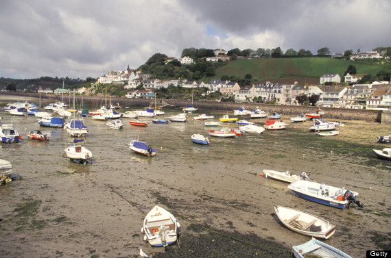 United Kingdom, Channel Islands, Jersey, Gorey Marina At Low Tide.